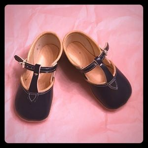 Vintage Navy Blue Patent  1950s Baby Girl Shoes